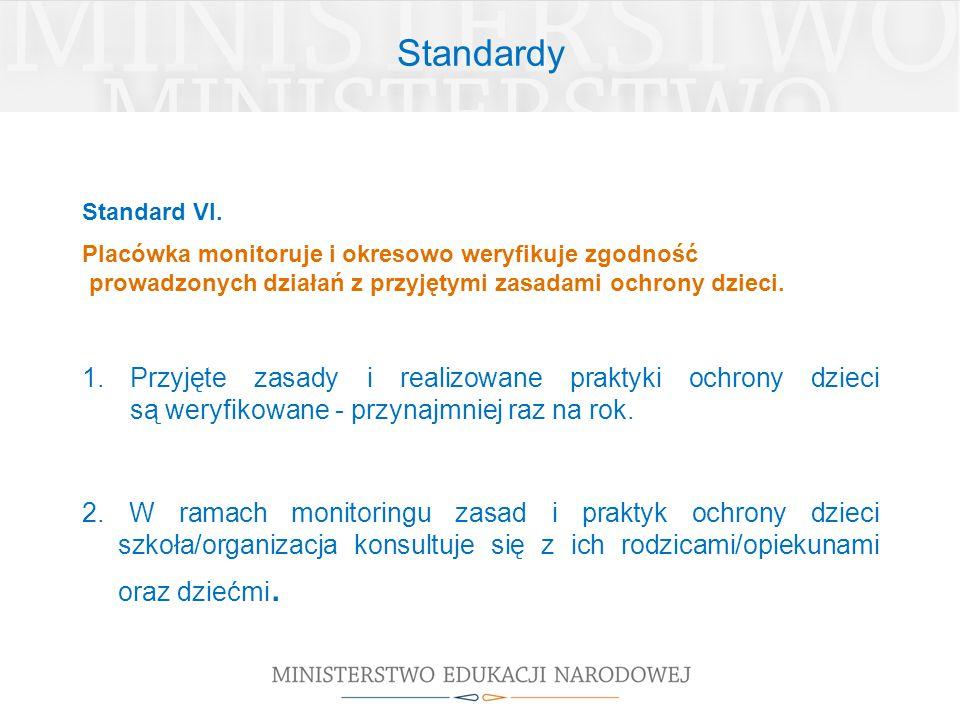 Standardy Standard VI. Placówka monitoruje i okresowo weryfikuje zgodność. prowadzonych działań z przyjętymi zasadami ochrony dzieci.