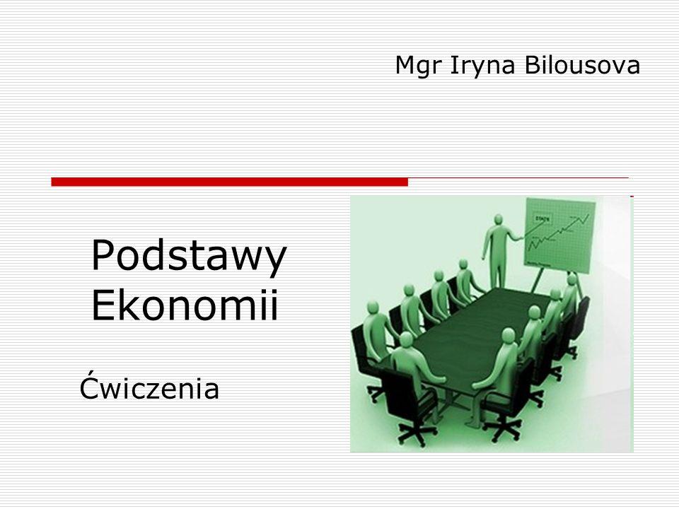 Mgr Iryna Bilousova Podstawy Ekonomii Ćwiczenia