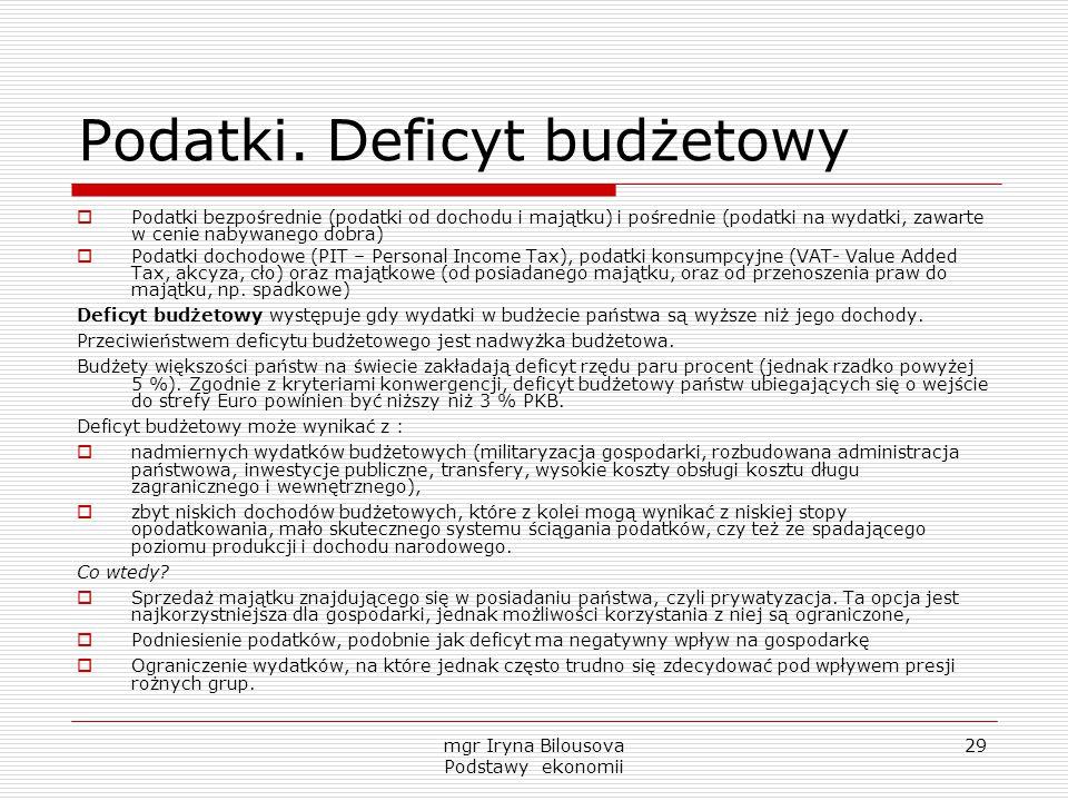 Podatki. Deficyt budżetowy
