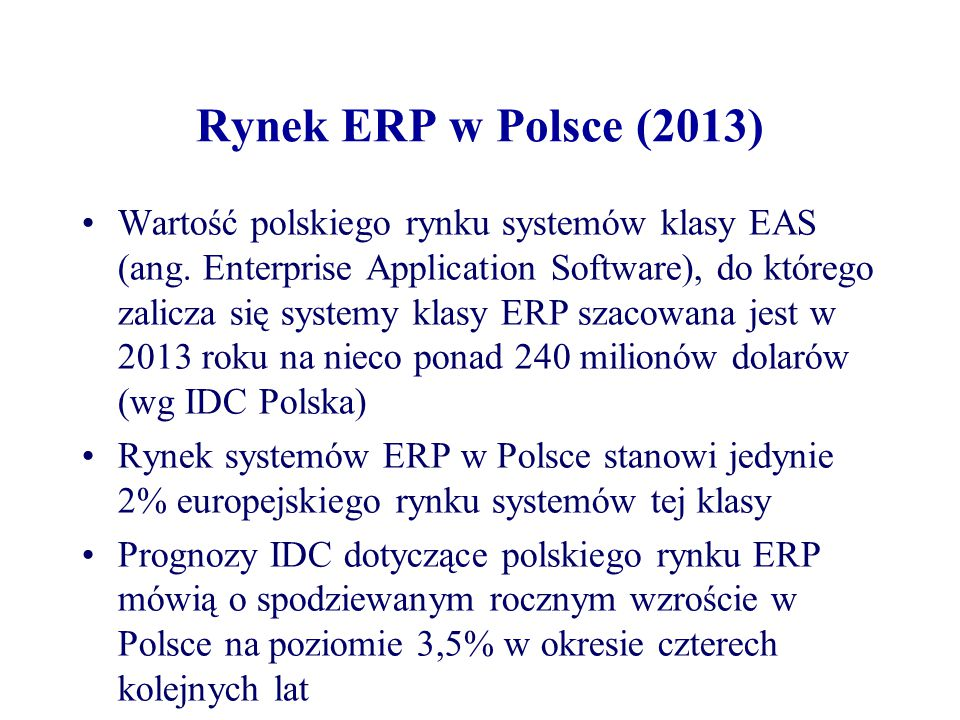 Rynek ERP w Polsce (2013)