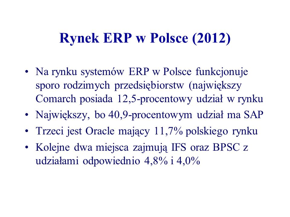 Rynek ERP w Polsce (2012)
