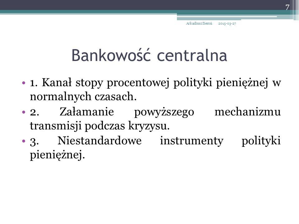 Arkadiusz Sieroń 2017-04-08. Bankowość centralna. 1. Kanał stopy procentowej polityki pieniężnej w normalnych czasach.