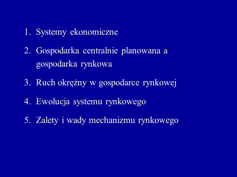 Systemy ekonomiczne Gospodarka centralnie planowana a gospodarka rynkowa. Ruch okrężny w gospodarce rynkowej.