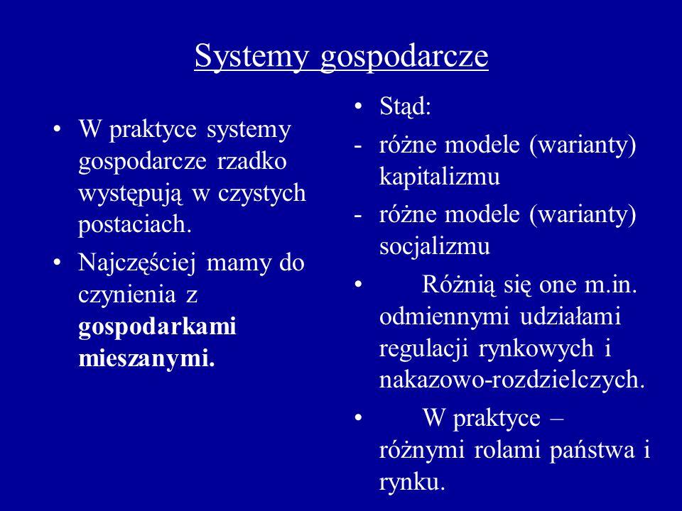 Systemy gospodarcze Stąd: różne modele (warianty) kapitalizmu