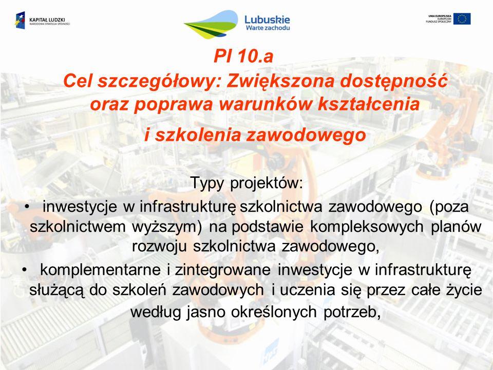 PI 10.a Cel szczegółowy: Zwiększona dostępność oraz poprawa warunków kształcenia i szkolenia zawodowego