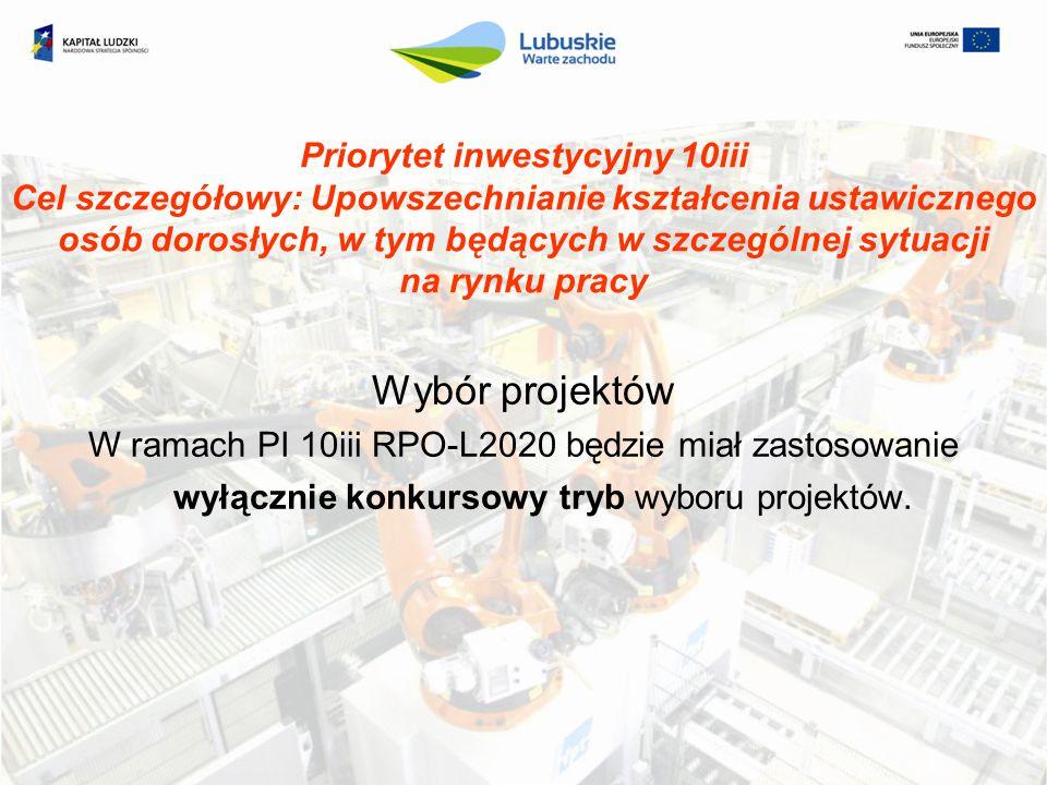 Priorytet inwestycyjny 10iii Cel szczegółowy: Upowszechnianie kształcenia ustawicznego osób dorosłych, w tym będących w szczególnej sytuacji na rynku pracy