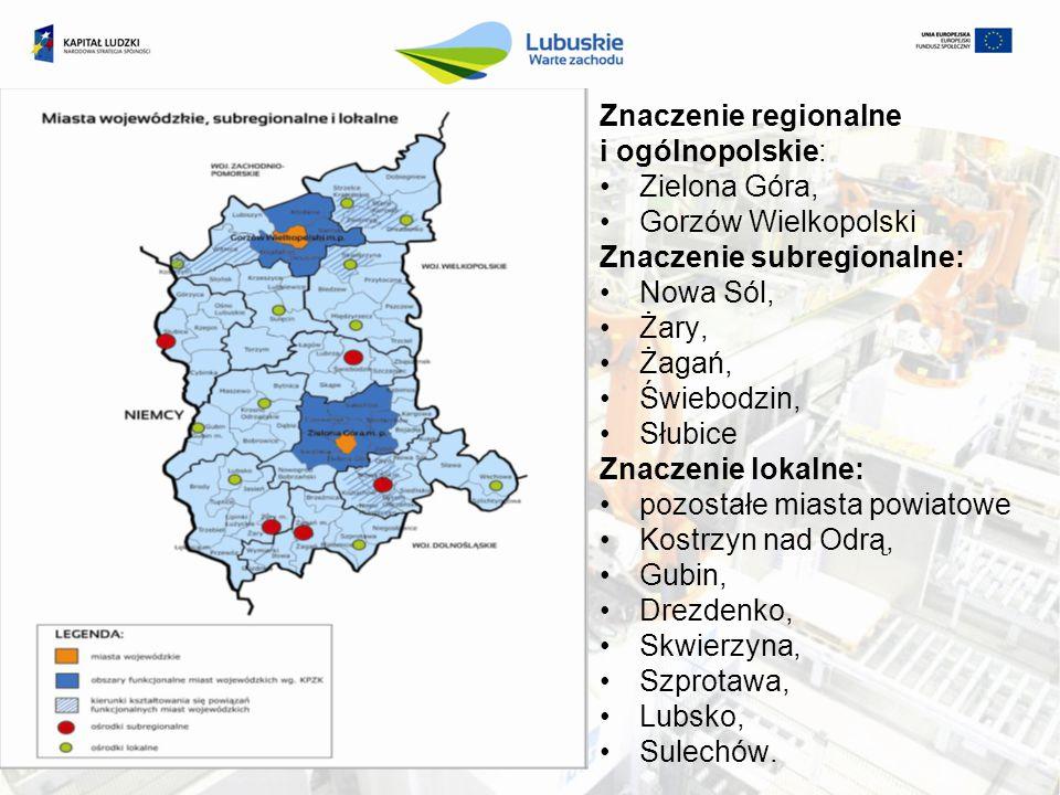 Znaczenie regionalne i ogólnopolskie: Zielona Góra, Gorzów Wielkopolski. Znaczenie subregionalne:
