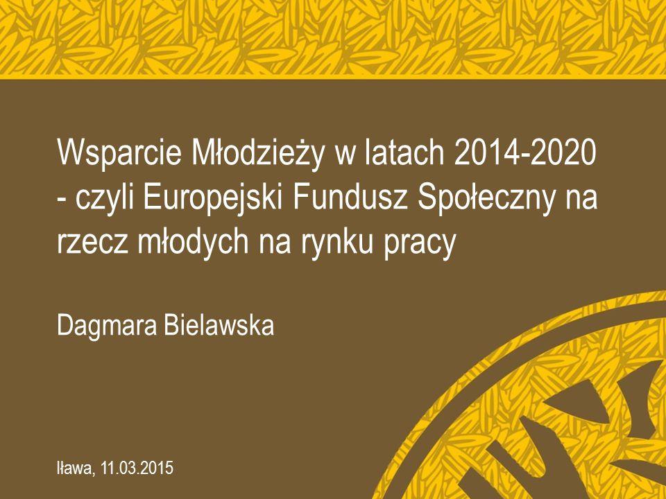 Wsparcie Młodzieży w latach 2014-2020 - czyli Europejski Fundusz Społeczny na rzecz młodych na rynku pracy Dagmara Bielawska