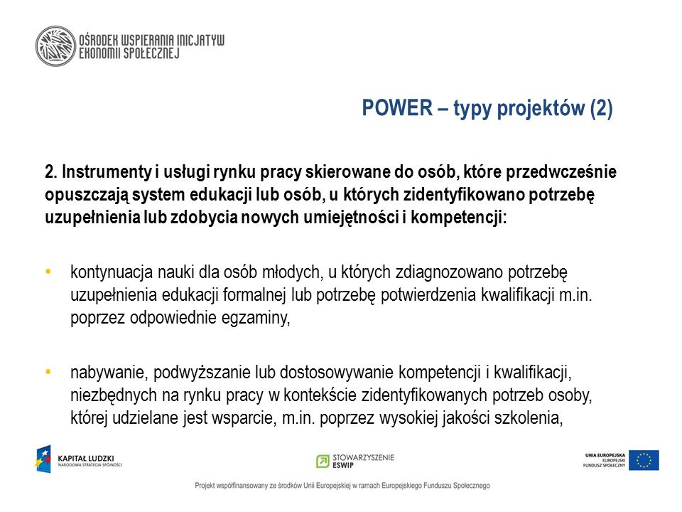 POWER – typy projektów (2)