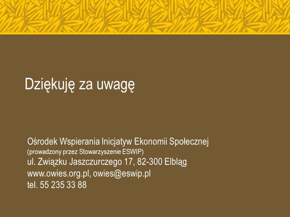 Dziękuję za uwagę Ośrodek Wspierania Inicjatyw Ekonomii Społecznej