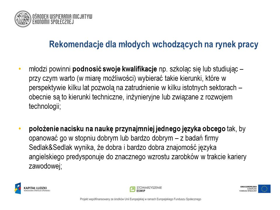 Rekomendacje dla młodych wchodzących na rynek pracy
