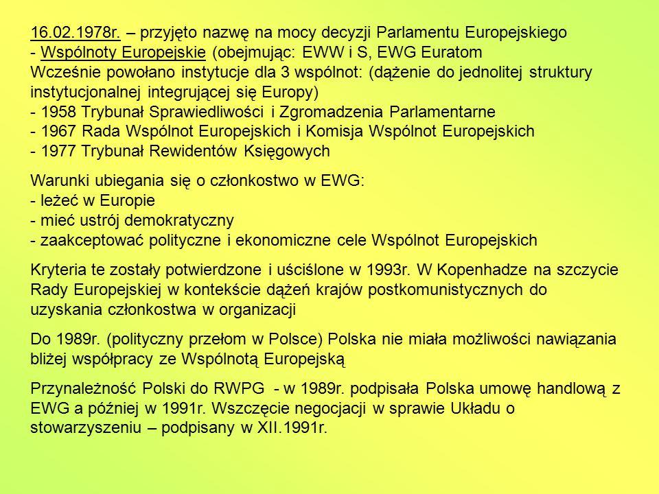 16.02.1978r. – przyjęto nazwę na mocy decyzji Parlamentu Europejskiego - Wspólnoty Europejskie (obejmując: EWW i S, EWG Euratom Wcześnie powołano instytucje dla 3 wspólnot: (dążenie do jednolitej struktury instytucjonalnej integrującej się Europy) - 1958 Trybunał Sprawiedliwości i Zgromadzenia Parlamentarne - 1967 Rada Wspólnot Europejskich i Komisja Wspólnot Europejskich - 1977 Trybunał Rewidentów Księgowych