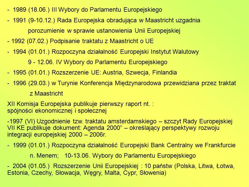 - 1989 (18.06.) III Wybory do Parlamentu Europejskiego