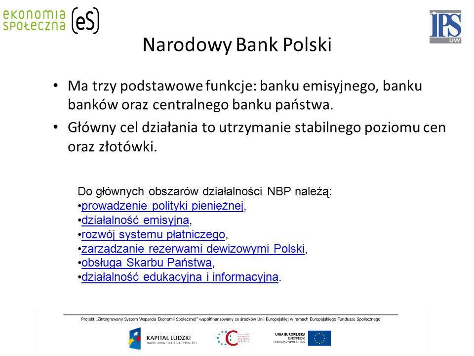 Narodowy Bank Polski Ma trzy podstawowe funkcje: banku emisyjnego, banku banków oraz centralnego banku państwa.