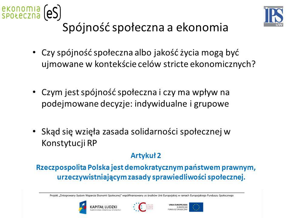 Spójność społeczna a ekonomia