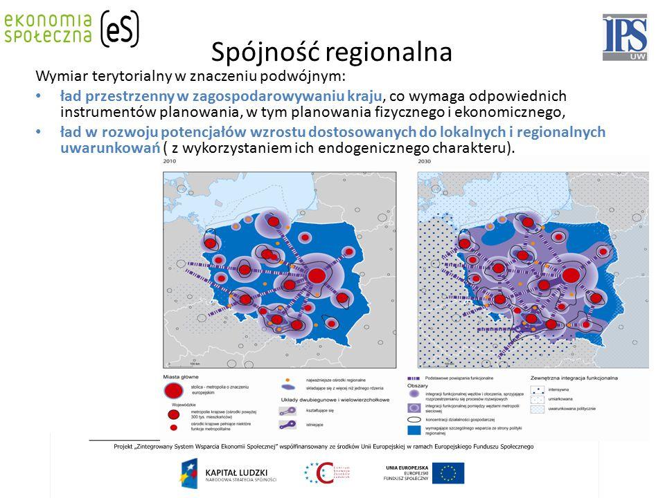 Spójność regionalna Wymiar terytorialny w znaczeniu podwójnym: