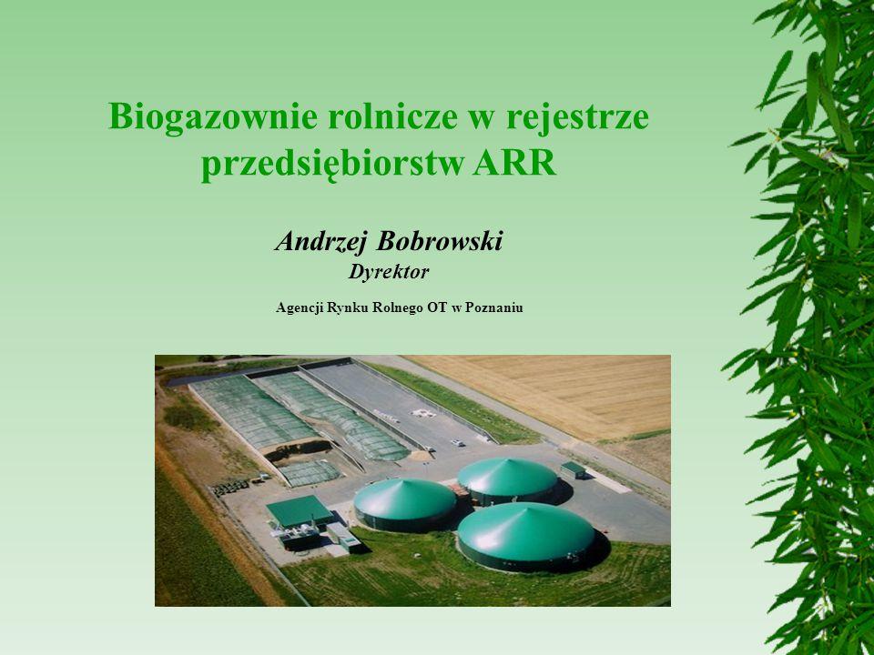 Biogazownie rolnicze w rejestrze przedsiębiorstw ARR