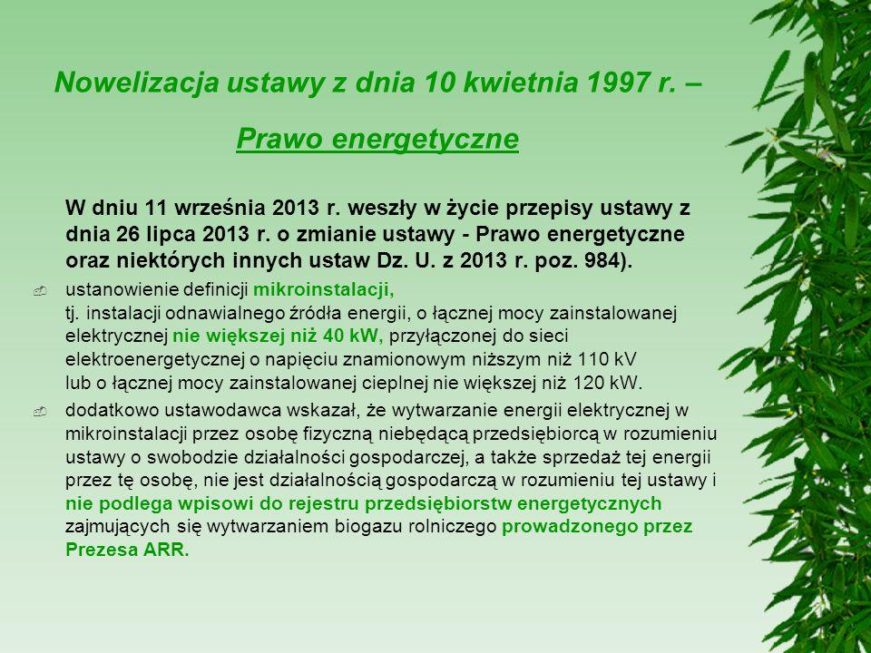 Nowelizacja ustawy z dnia 10 kwietnia 1997 r. – Prawo energetyczne