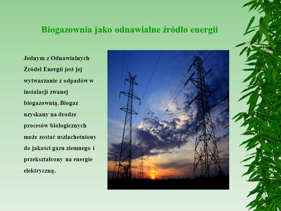 Biogazownia jako odnawialne źródło energii