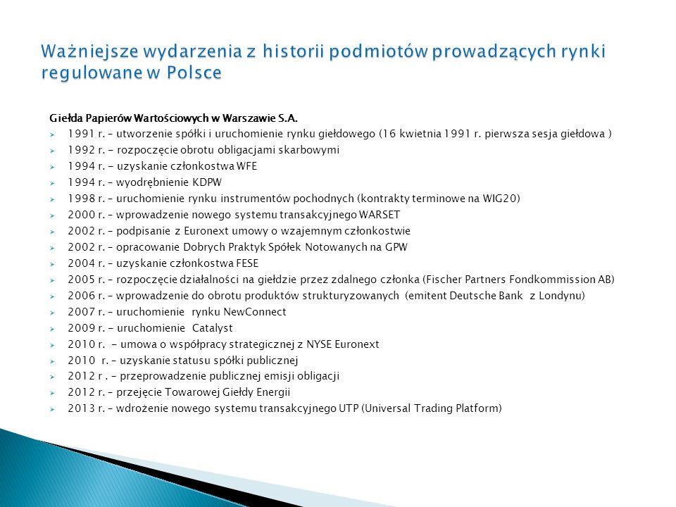 Ważniejsze wydarzenia z historii podmiotów prowadzących rynki regulowane w Polsce