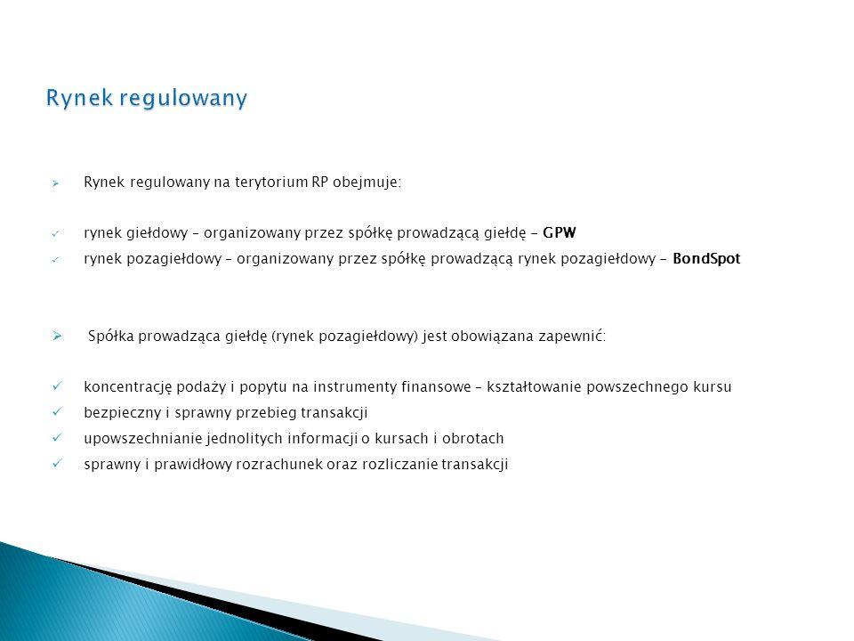 Rynek regulowany Rynek regulowany na terytorium RP obejmuje: