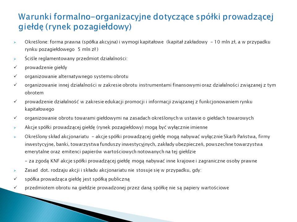 Warunki formalno-organizacyjne dotyczące spółki prowadzącej giełdę (rynek pozagiełdowy)