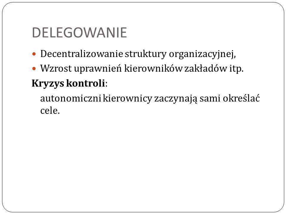 DELEGOWANIE Decentralizowanie struktury organizacyjnej,