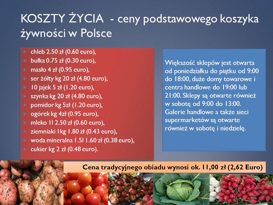 Koszty życia - ceny podstawowego koszyka żywności w Polsce