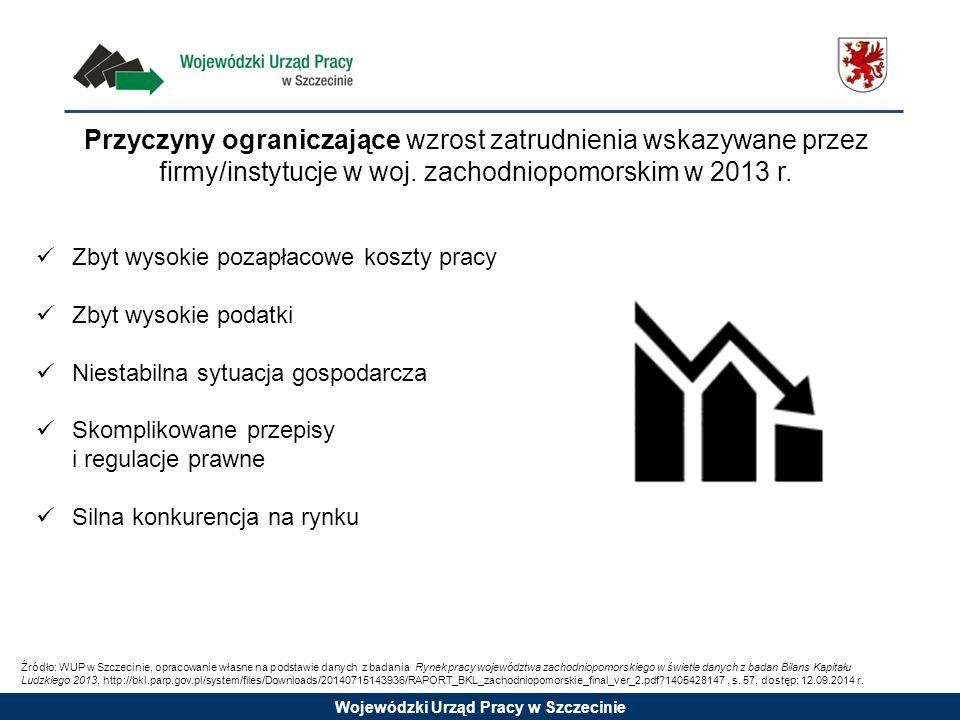 Przyczyny ograniczające wzrost zatrudnienia wskazywane przez firmy/instytucje w woj. zachodniopomorskim w 2013 r.