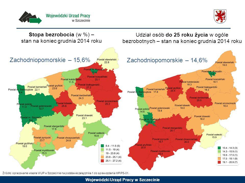 Stopa bezrobocia (w %) – stan na koniec grudnia 2014 roku