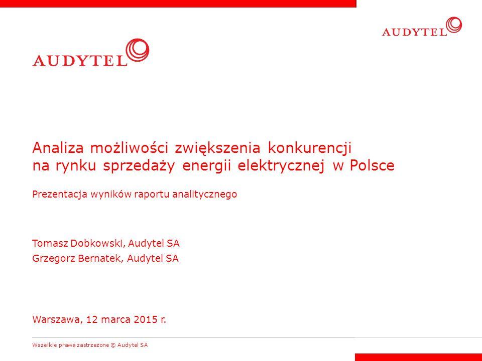 Analiza możliwości zwiększenia konkurencji na rynku sprzedaży energii elektrycznej w Polsce Prezentacja wyników raportu analitycznego