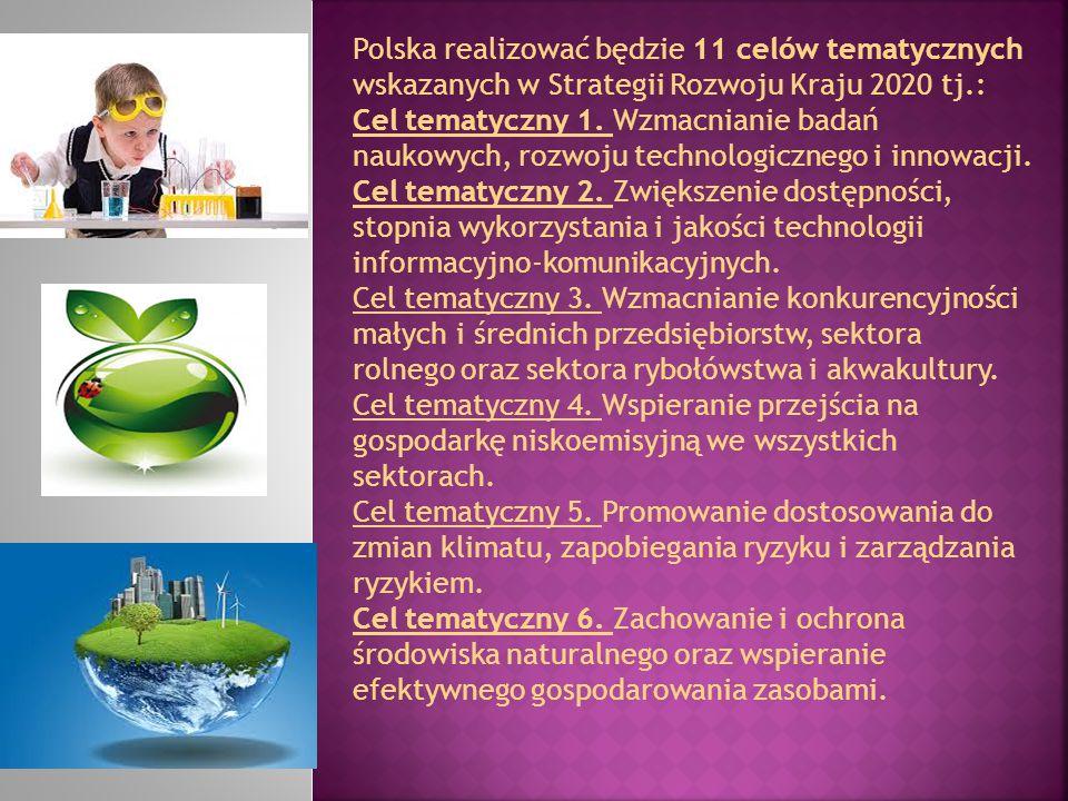 Polska realizować będzie 11 celów tematycznych wskazanych w Strategii Rozwoju Kraju 2020 tj.: