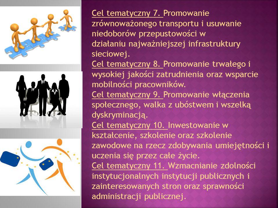 Cel tematyczny 7. Promowanie zrównoważonego transportu i usuwanie niedoborów przepustowości w działaniu najważniejszej infrastruktury sieciowej.