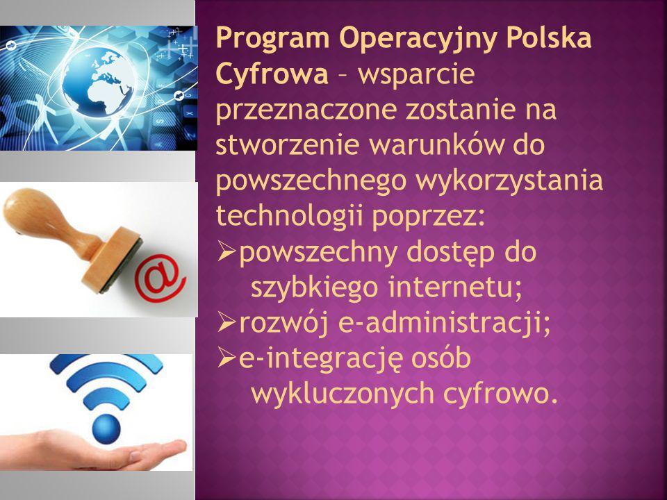 Program Operacyjny Polska Cyfrowa – wsparcie przeznaczone zostanie na stworzenie warunków do powszechnego wykorzystania technologii poprzez: