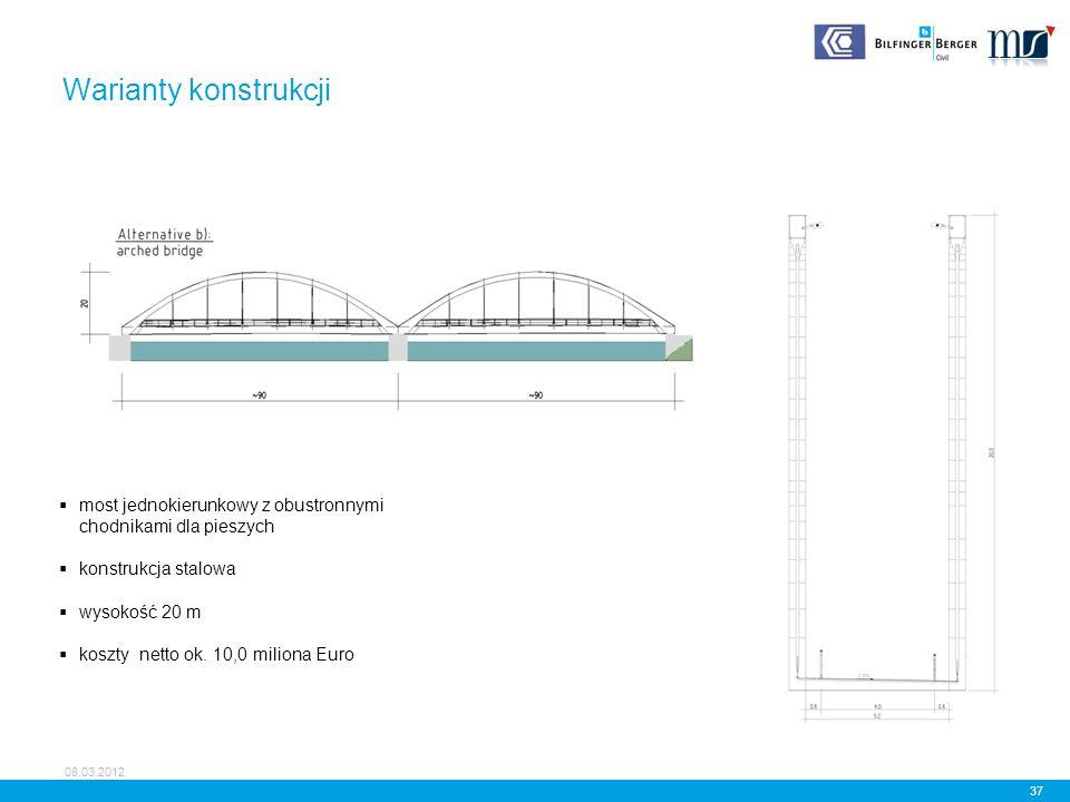 Warianty konstrukcji most jednokierunkowy z obustronnymi chodnikami dla pieszych. konstrukcja stalowa.