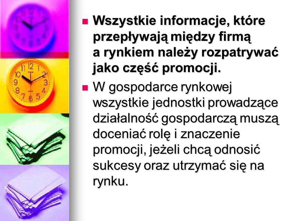 Wszystkie informacje, które przepływają między firmą a rynkiem należy rozpatrywać jako część promocji.