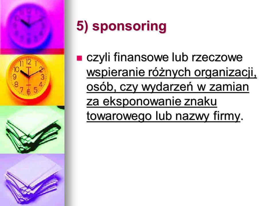 5) sponsoring
