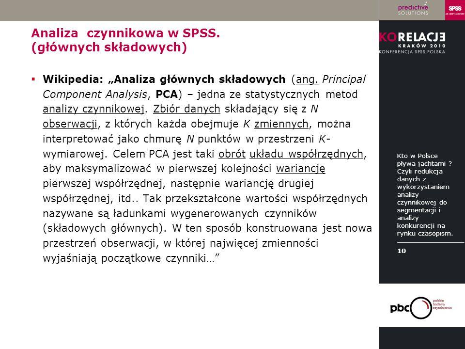 Analiza czynnikowa w SPSS. (głównych składowych)