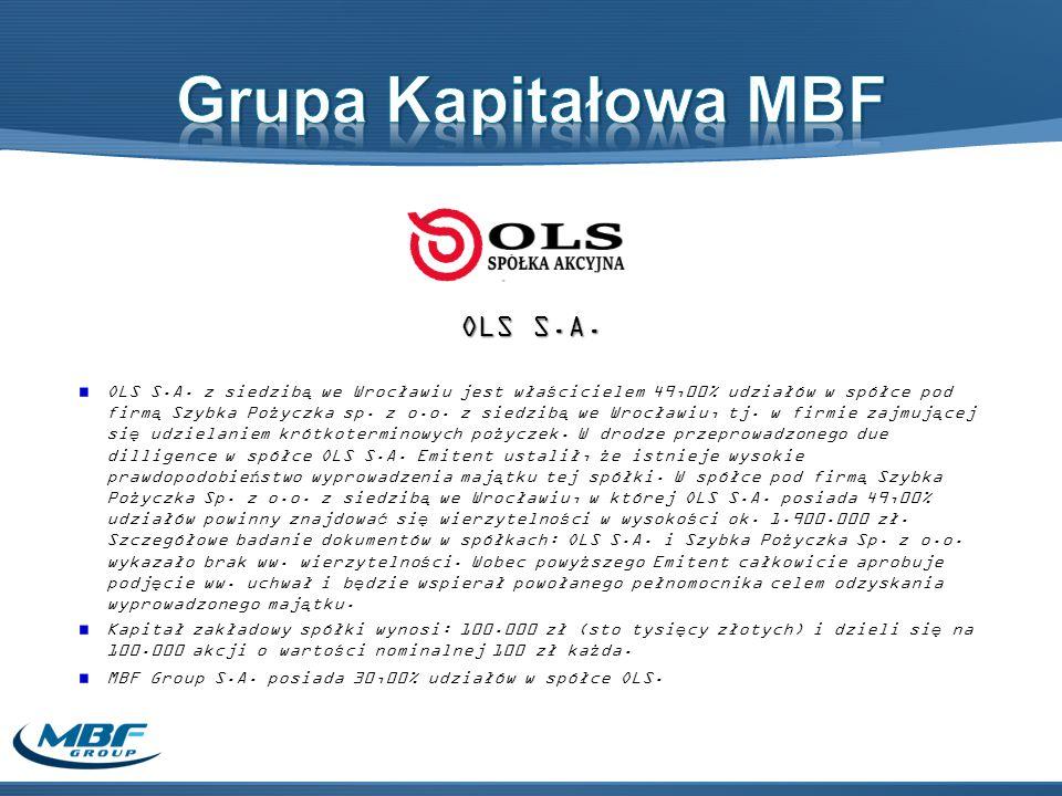 Grupa Kapitałowa MBF OLS S.A.