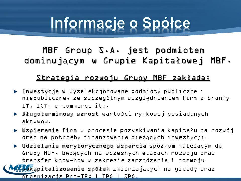 Informacje o Spółce MBF Group S.A. jest podmiotem dominującym w Grupie Kapitałowej MBF. Strategia rozwoju Grupy MBF zakłada: