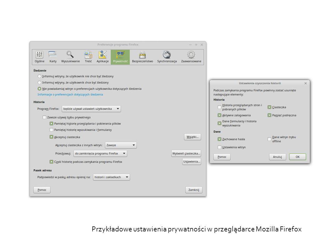 Przykładowe ustawienia prywatności w przeglądarce Mozilla Firefox