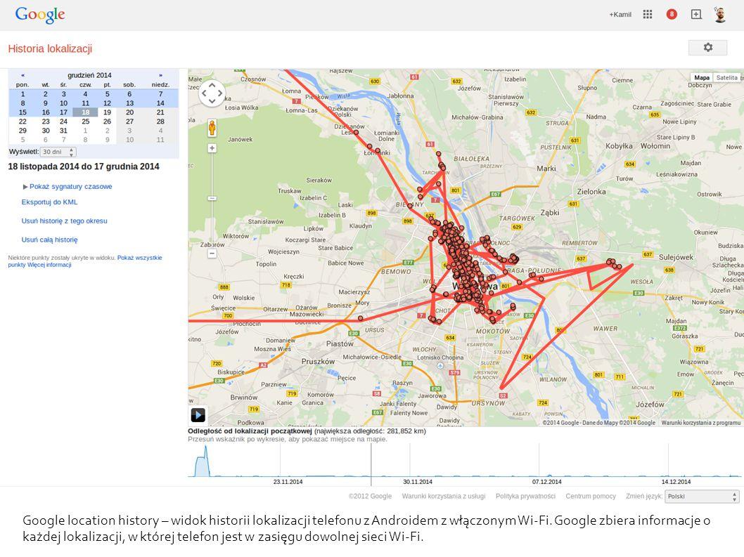 Google location history – widok historii lokalizacji telefonu z Androidem z włączonym Wi-Fi.