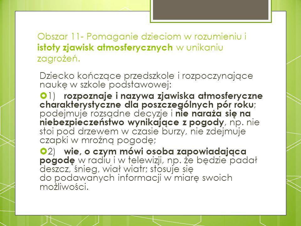 Obszar 11- Pomaganie dzieciom w rozumieniu i istoty zjawisk atmosferycznych w unikaniu zagrożeń.