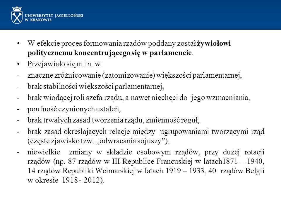 W efekcie proces formowania rządów poddany został żywiołowi politycznemu koncentrującego się w parlamencie.