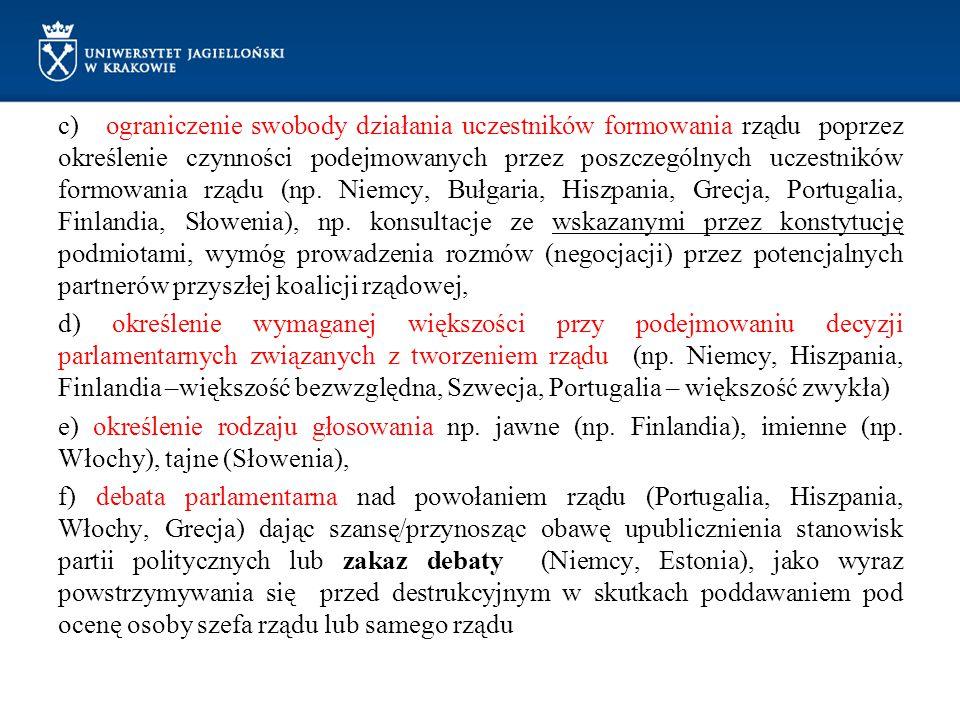 c) ograniczenie swobody działania uczestników formowania rządu poprzez określenie czynności podejmowanych przez poszczególnych uczestników formowania rządu (np.