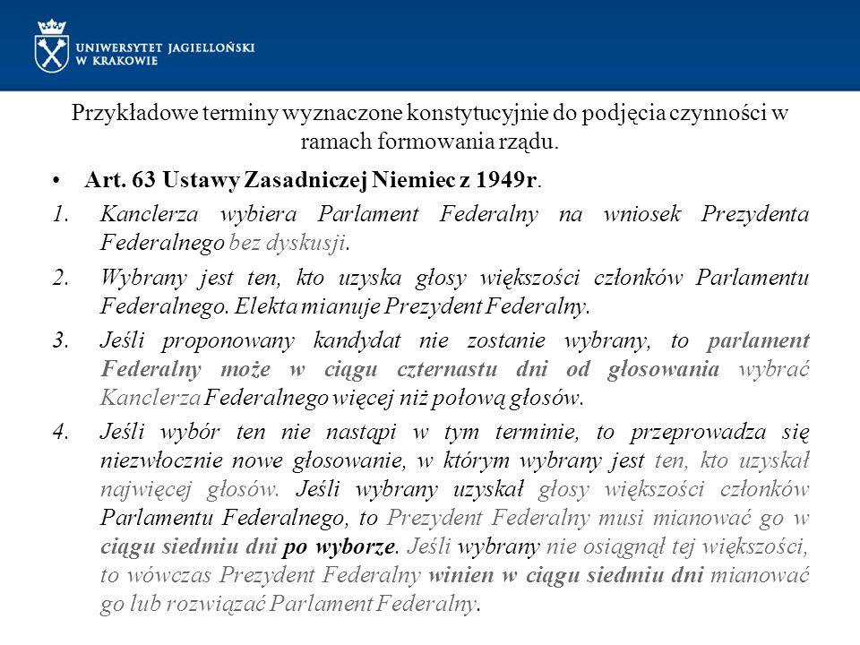 Przykładowe terminy wyznaczone konstytucyjnie do podjęcia czynności w ramach formowania rządu.