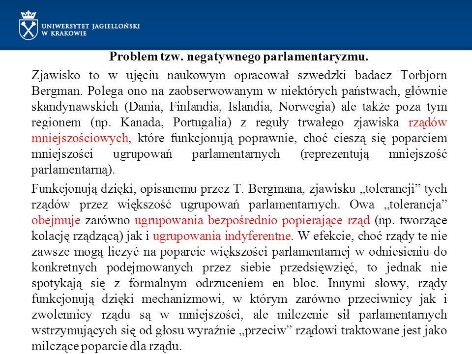 Problem tzw. negatywnego parlamentaryzmu