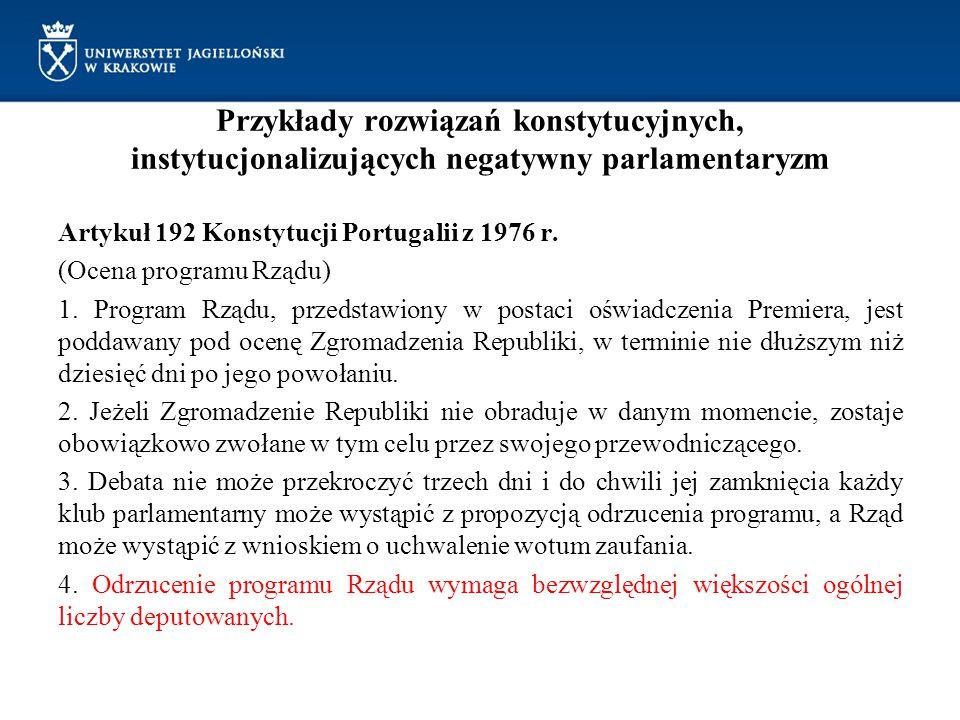 Przykłady rozwiązań konstytucyjnych, instytucjonalizujących negatywny parlamentaryzm
