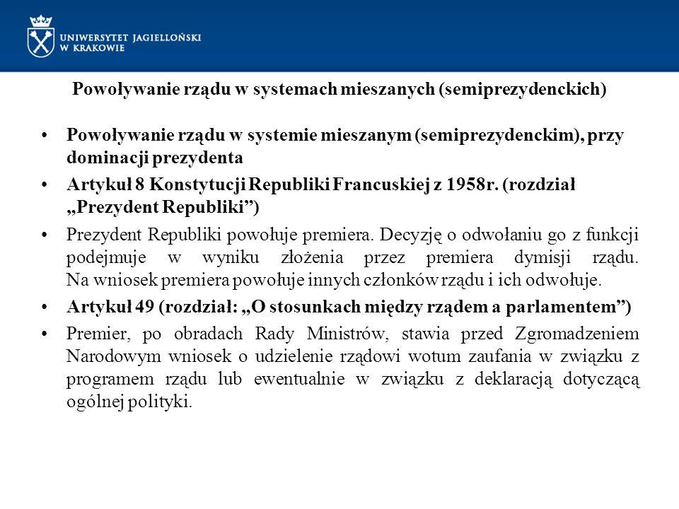 Powoływanie rządu w systemach mieszanych (semiprezydenckich)