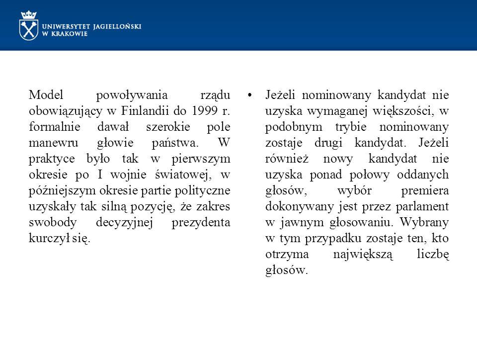 Model powoływania rządu obowiązujący w Finlandii do 1999 r